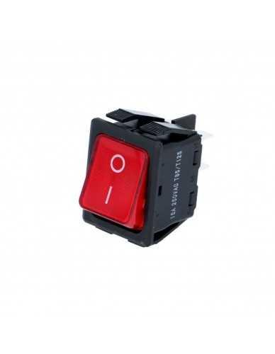 Rechthoekige rode aan/uit schakelaar 30x22mm