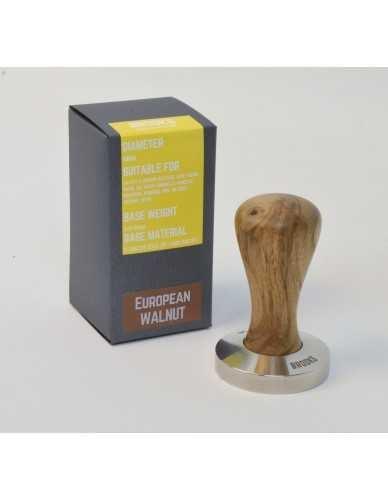 Brooks 58mm stainless tamper European walnut