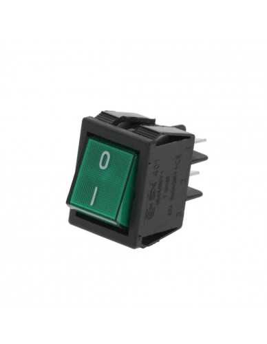 Rectangular on off switch green 30x22mm
