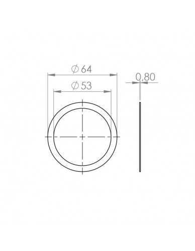 Portafilter vul pakking 0.8mm 64x43mm